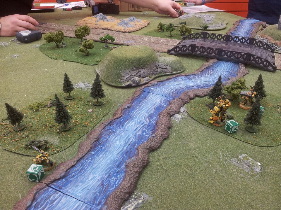 A close up of Bradford's Peace River Defence Force as they run up against (and over) Curtis's Earth army.