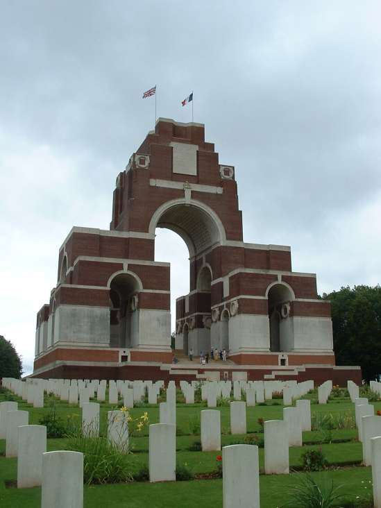 The Thiepval Memorial to the Missing of the Somme is a British monument 150 feet tall. On the 16 Portland Stone piers are engraved the names of over 72,000 men lost in the Somme battles whose remains were never found.